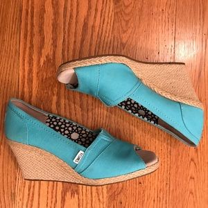 EUC Toms Wedge, Blue